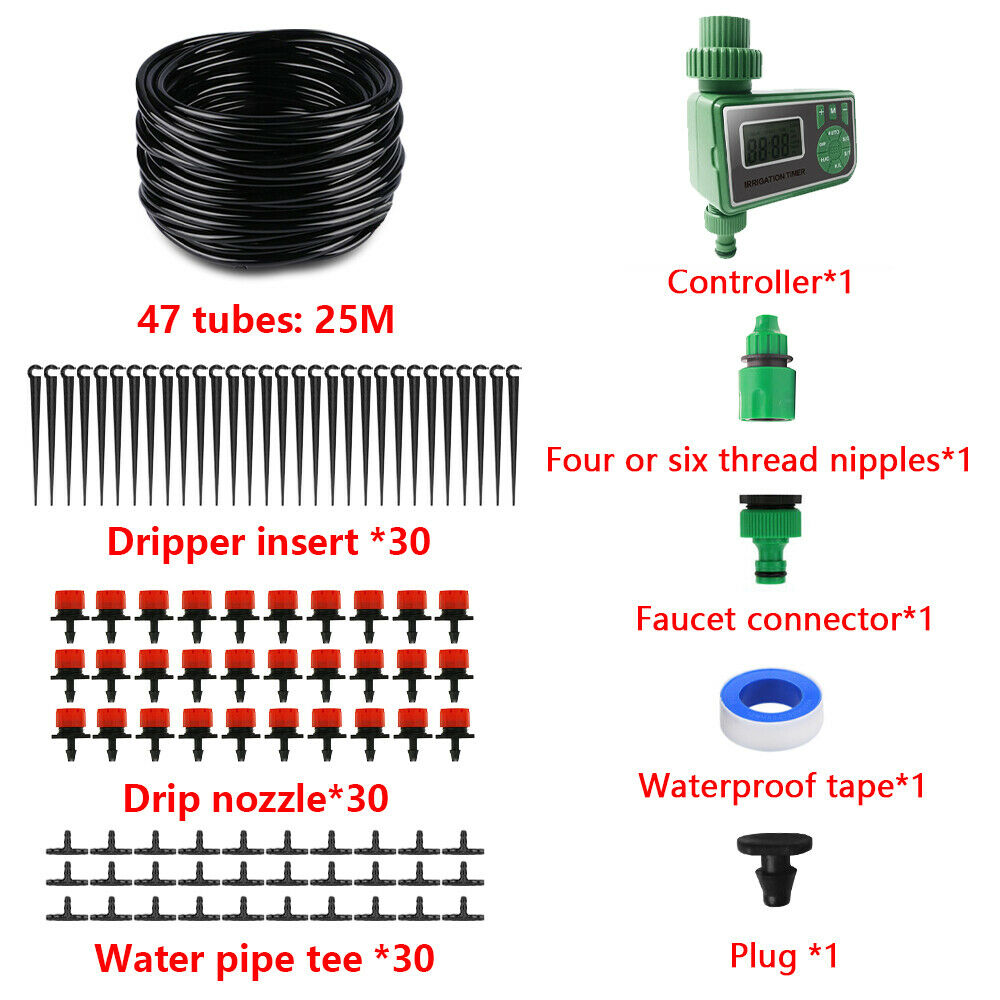 Système d'arrosage automatique goutte-à-goutte, tuyau 25M, dispositif à microgoutteurs réglables bricolage-même