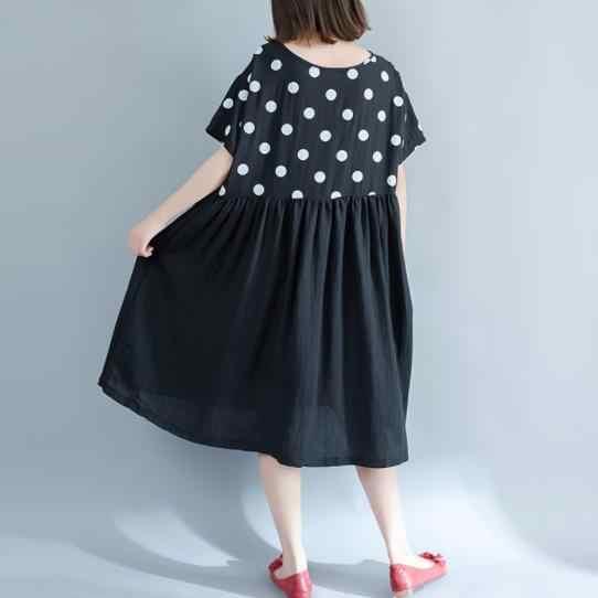 Talla grande 5XL nuevo estilo de verano mujer elegante algodón Lino puntos Patchwork Tops señora mujer vestido largo vestido Vestidos DC991