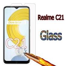 Vidro fo realme c21 capa tela do telefone à prova de riscos película protetora para realme c 21 9h 2.5d à prova de explosão vidro temperado