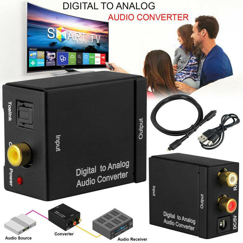 Digital to Analog Analogue <font><b>Audio</b></font> Converter Adapter Coax Coaxial <font><b>Optical</b></font> Toslink RCA R/L <font><b>Optical</b></font> to RCA <font><b>3.5mm</b></font> <font><b>Jack</b></font> image