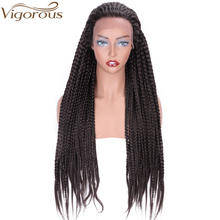 цена на Vigorous Long Synthetic Lace Front Braid Wig for Black Women African American Braided Artificial Hair 26 inch Brown Braids Wigs