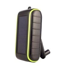 Energia solar banco de energia móvel mão manivela fonte de alimentação usb carregador de celular grande capacidade bateria externa 8000mah