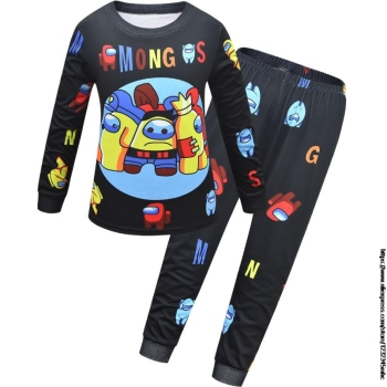 Game Among US Boy's Home Service Suit Underwear Cartoon Clothes Long-Sleeved Trousers Child Nightclothes Indoor Cotton Sleepwear 11