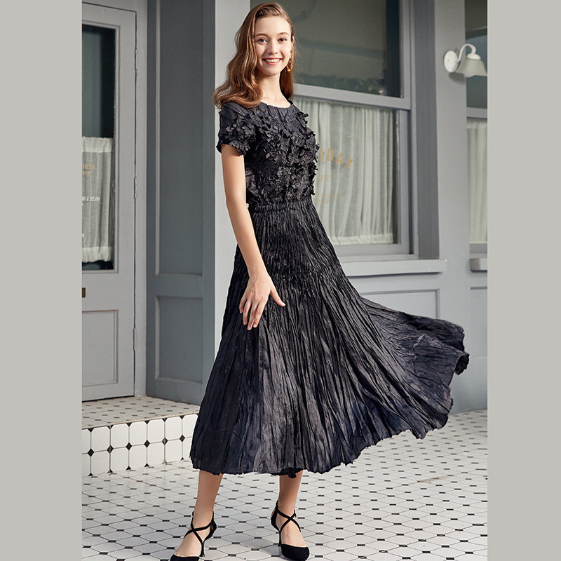 LANMREM irregular pleated A- line skirt high qualtiy all-match loose big swing middle-aged fold women's clothes 2020 new YJ506 image