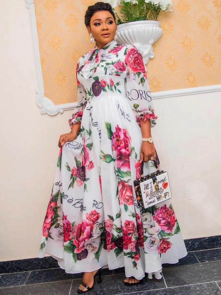 Dinner-Dresses Gown Dashiki Flowers Spring Ladies Clothing Elegant African Women Summer