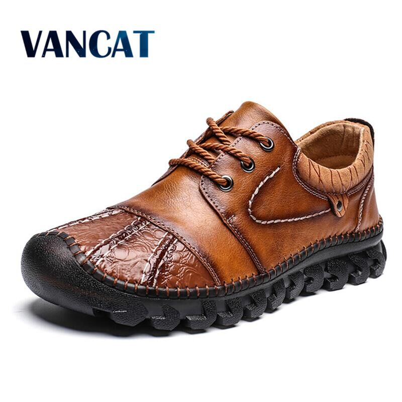2020 New High Quality Genuine Leather Men Shoes Outdoor Comfortable Casual Shoes Fashion Flats Loafers Moccasins Big Size 39 48|Men