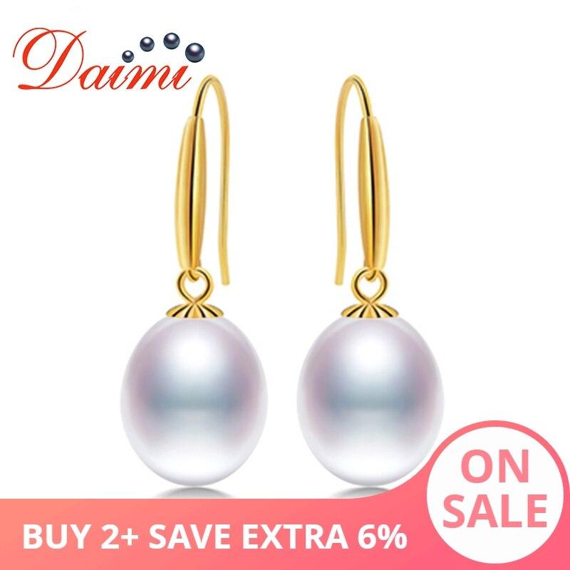 DAIMI 18k złoty hak kolczyki 8 9mm słodkowodne perły kolczyki wysokiej jakości marka biżuteria dla kobiet w Kolczyki od Biżuteria i akcesoria na  Grupa 1