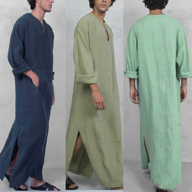 2019 New Men Saudi Thoub Thobe Abaya Robe Daffah Dishdasha Islamic Arab Kaftan Dress Men's Casual Loose Robes Nightdress
