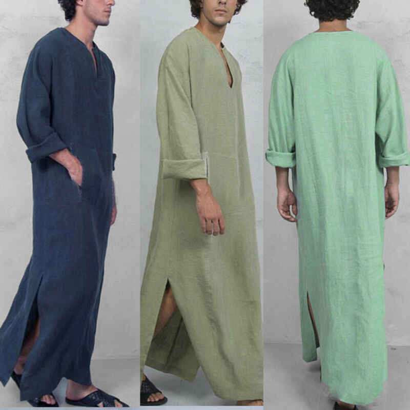 2019 New Men Saudi Thoub Thobe Abaya Robe Daffah Dishdasha Islamic Arab Kaftan Dress Men's Casual Loose Robes Nightdress