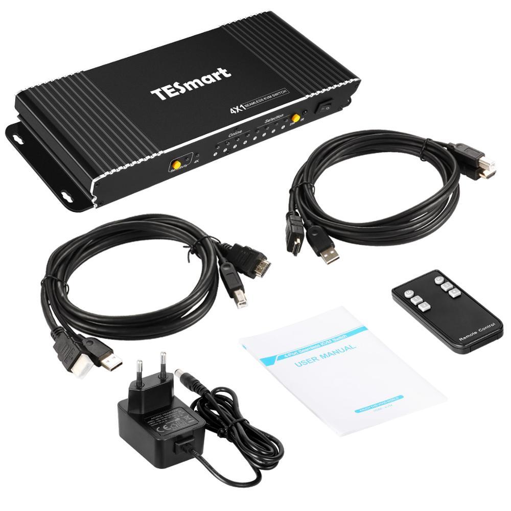 4X1 Seamless HDMI KVM Switch W/PIP 4 Ports HDMI Switcher KVM USB2.0 4K@30Hz Switch KVM HDMI Control4PCs 4Port Input 1 Port Out