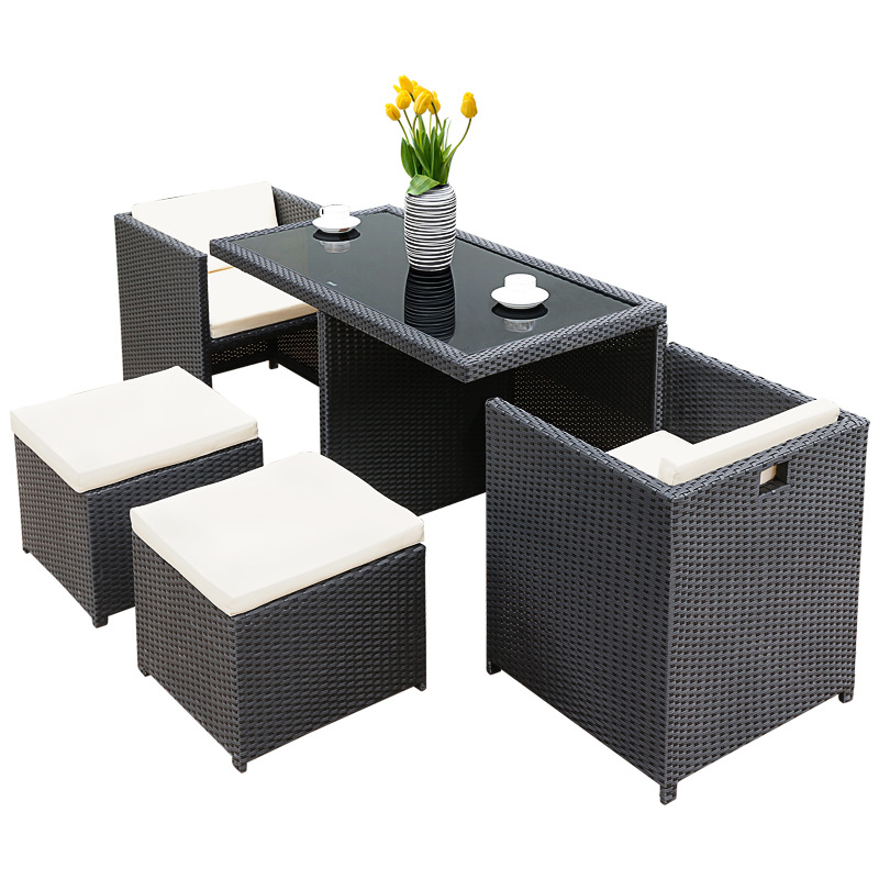 Outdoor rattan table and chair three-piece balcony terrace patio outdoor chair combination leisure table and chair furniture