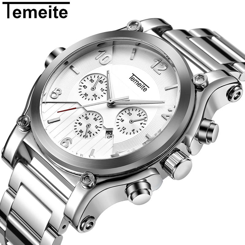 Temeite New Top Brand Luxury Watches Men Fashion Sports Quartz Watch Male Steel Strap Waterproof Wristwtach Relogio Masculino
