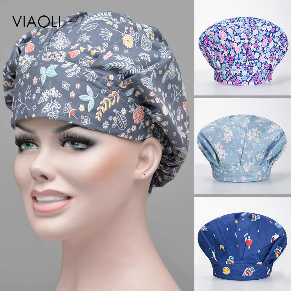 Viaoli unisex Chef Hat printing housework Cap Canteen Restaurant kitchen Food service Bakery work hat Female chef catering hats
