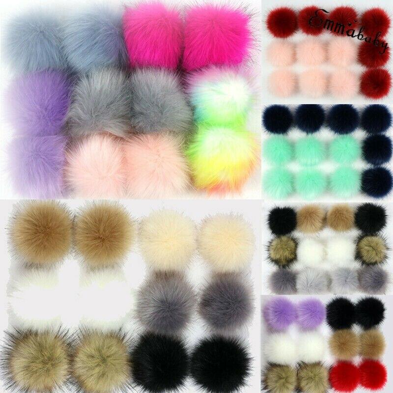 12PCSThe Bulb Hat Raw Material  Faux Fur Pom Pom Bobble Handmade Pompom Size 10CM For Hat Bags Clothes DIY