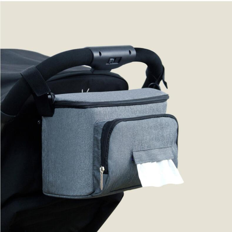 Diaper Bag For Baby Stuff Nappy Bag Stroller Organizer Baby Bag Mom Travel Hanging Carriage Pram Buggy Cart Two Bottle Bag - Цвет: Single pocket Grey
