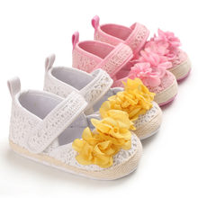 Baby shoes winter Newborn Baby Girls Solid First Walkers with Big Flowers Soft Sole Shoes Anti-slip Prewalker Sneakers 0-12M(China)