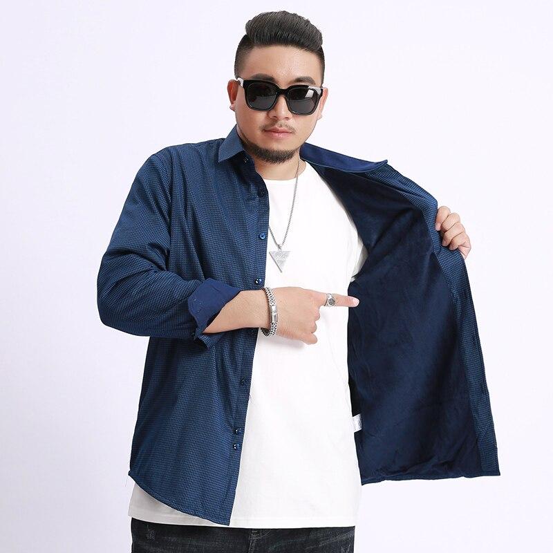 New Big Plus Size 10XL 9XL 8XL Fleece Fashion Men's Shirts Autumn And Winter Thickening Warm Plaid  Male Social Shirt Clothing