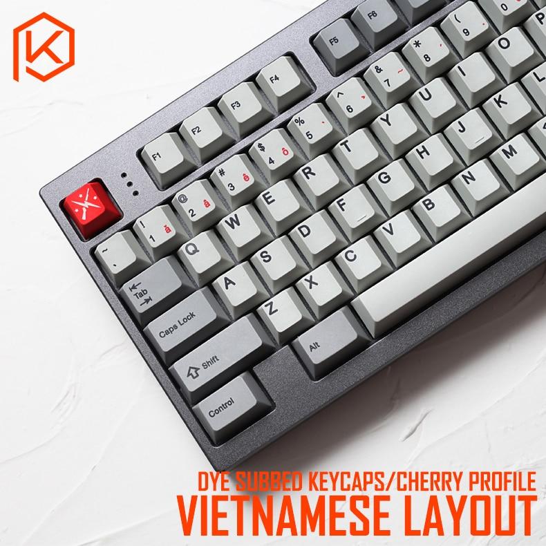 Kprepublic 139 Vietnamese Root Vietnam Font Language Cherry Profile Dye Sub Keycap PBT For Gh60 Xd60 Xd84 Cospad Tada68 87 104