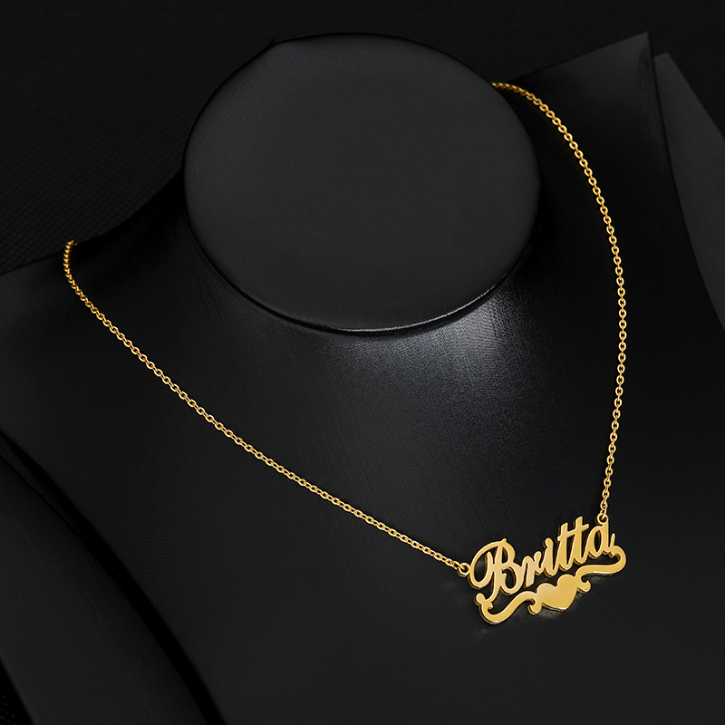 Customized Name Necklace For Women Silver Gold Chain Stainless Steel Custom Heart Ribbon Necklace Personalized Gift For Her BFF