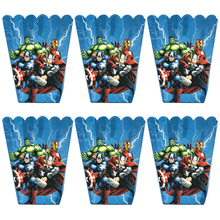 6pcs/lot Cartoon Avengers Popcorn Box Kids Birthday Party Supplies Superhero Baby Shower Happy Candy Gift Boxes Decoration