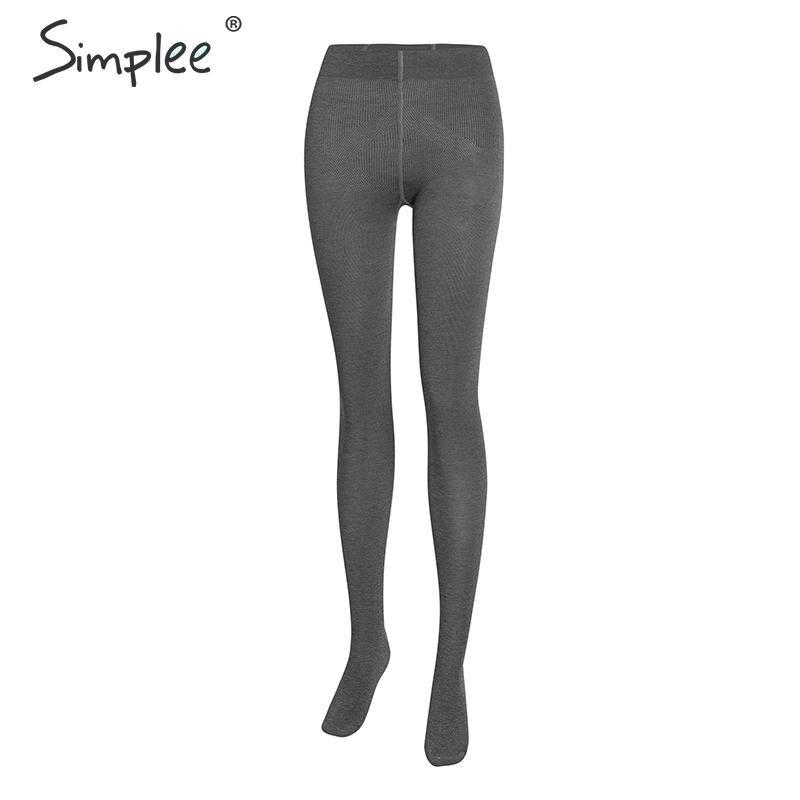 Simplee Leggings Warm Sexy High-Waist Pantyhouses Winter Cotton Autumn Soft Slim-Fit