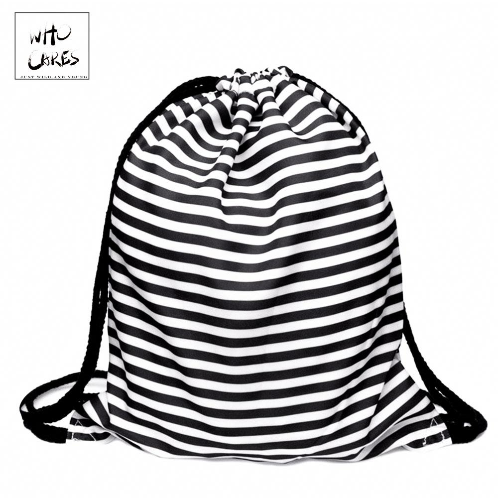 Who Cares Military Backpack Women Striped 3D Printing Drawstring Bag Gym Mochila Feminina School Shoe Bags