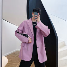 Sleeve-Suit Oversize Blazers Coat Male Casual Single-Breasted Korean Iefb/men's New Wear