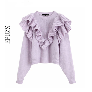 Spring winter purple Ruffles Knitted Sweater Women Pullovers casual O Neck Long Sleeve Chic korean sweater sweet Puff Femme 2019