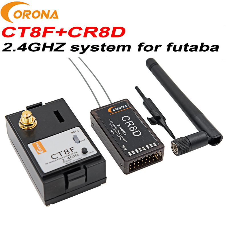 1 set Corona CT8F+CR8D Futaba Module receiver 2.4Ghz system for futaba CR8D V2 DSSS receiver CT8F futaba transmitter RC drones