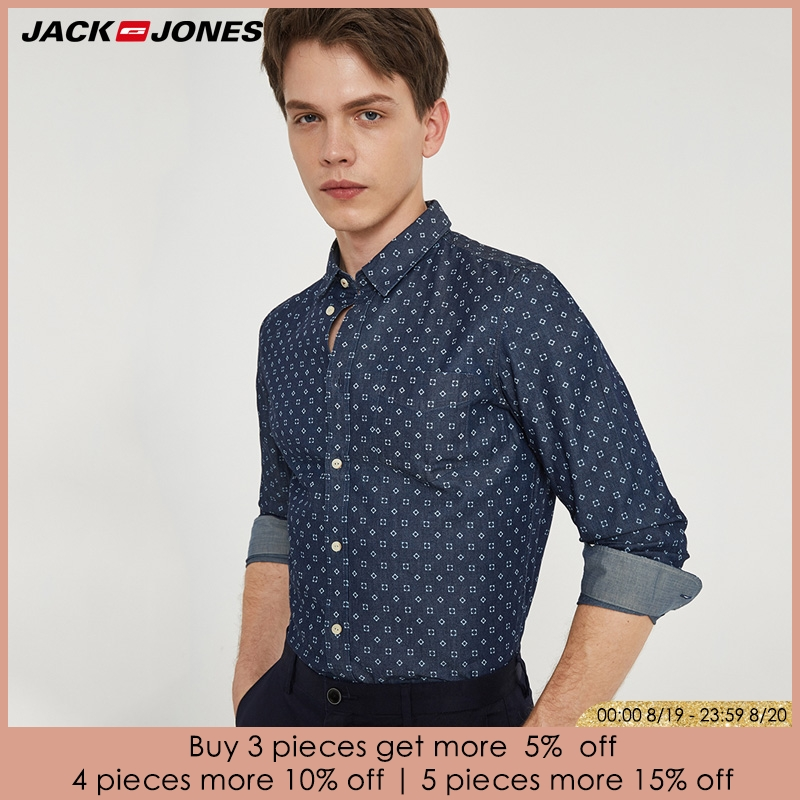 Casual Shirts Regular JACKJONES Slim Male Cotton Brand HOT 216105034 Tops Men