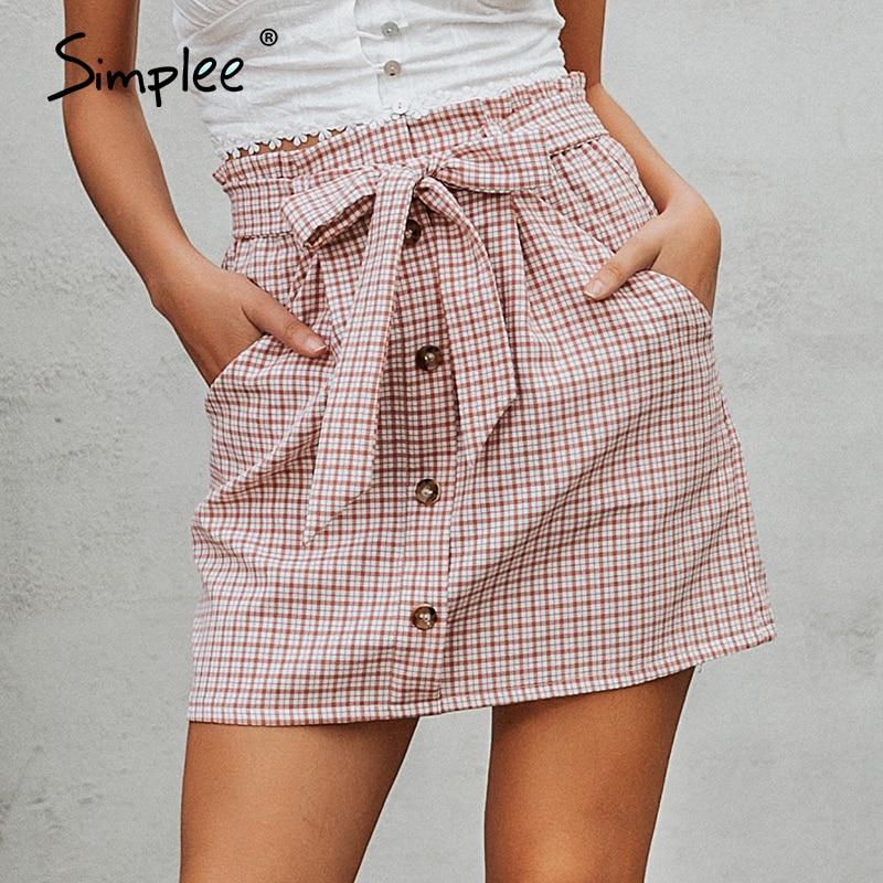Simplee Bow Tie Plaid Women Short Skirt Summer Streetwear Office Ladies Mini Skirt Elegant Button Casual Female Summer Skirt