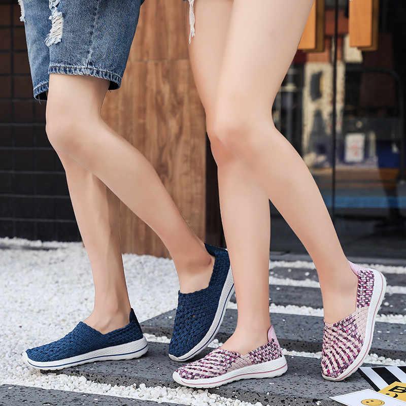 Herren Laufschuhe Handgemachte Sommer Turnschuhe Woven Faulenzer Große Größe männer Sport Schuhe Slip-auf Fuß Sport Schuh mann Trainer V6