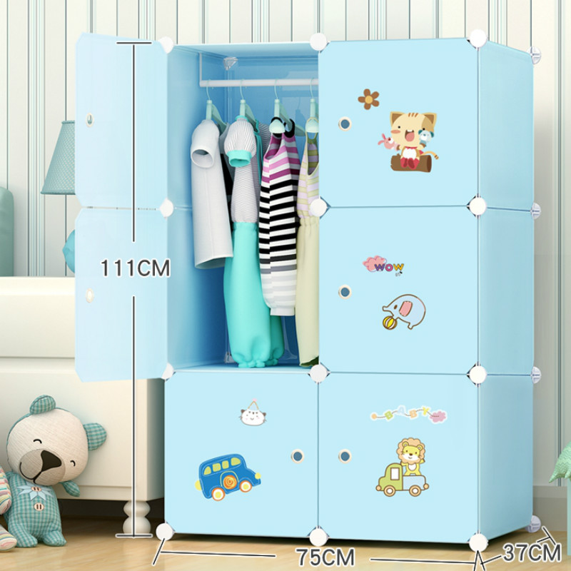 Children's Wardrobe Cartoon Economic Solid Wood Child Plastic Assembled Simple Cloth Wardrobe Baby's Baby's Storage Cabinet