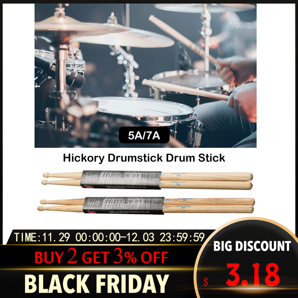 1 Pair Professional Drum Sticks 5A Hickory Walnut Wood 5A Drumsticks 7A Musical Instruments Drum Sticks