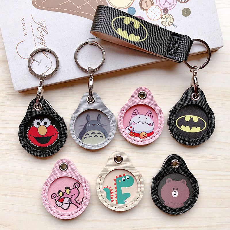 New Cartoon Leather Protective Mini Key Case Cover Keychain Portable Lovely Key Ring Small Round Elevator Access Card Key Holder