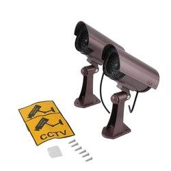 Atrapa aparatu wodoodporna bezpieczeństwo w domu CCTV kamera monitorująca światło flash led sztuczna kamera na świeżym powietrzu Części do telewizji przemysłowej    -