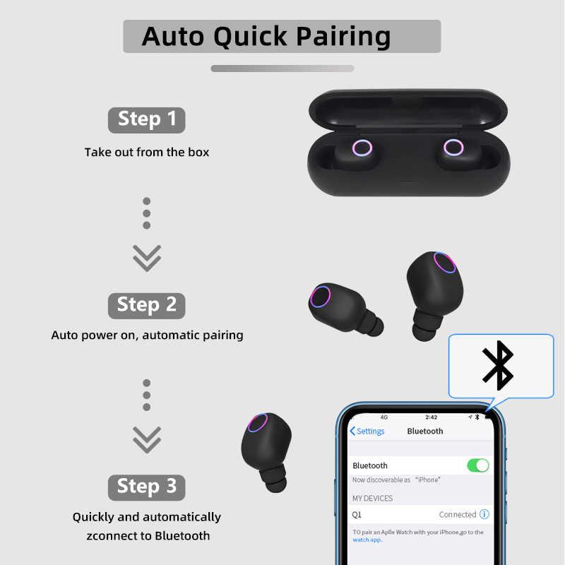 Bezprzewodowe słuchawki Bluetooth 5.0 z etui z funkcją ładowania Mini sportowe słuchawki douszne sportowe słuchawki magnetyczne do inteligentnego telefonu