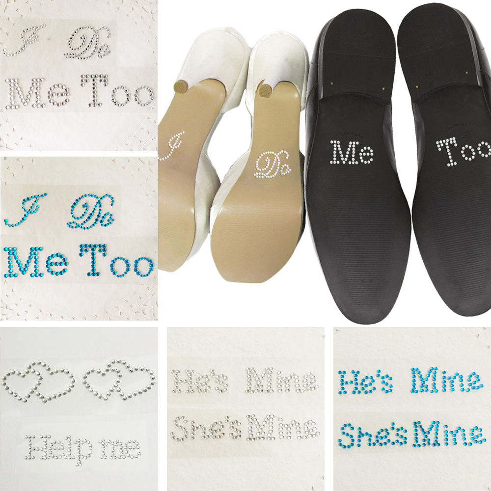 Wedding Decoration I Do Me Too Hes Mine Shes Mine Crystal Diamante Wedding Shoe Stickers Something Blue Bridal Shower Gifts
