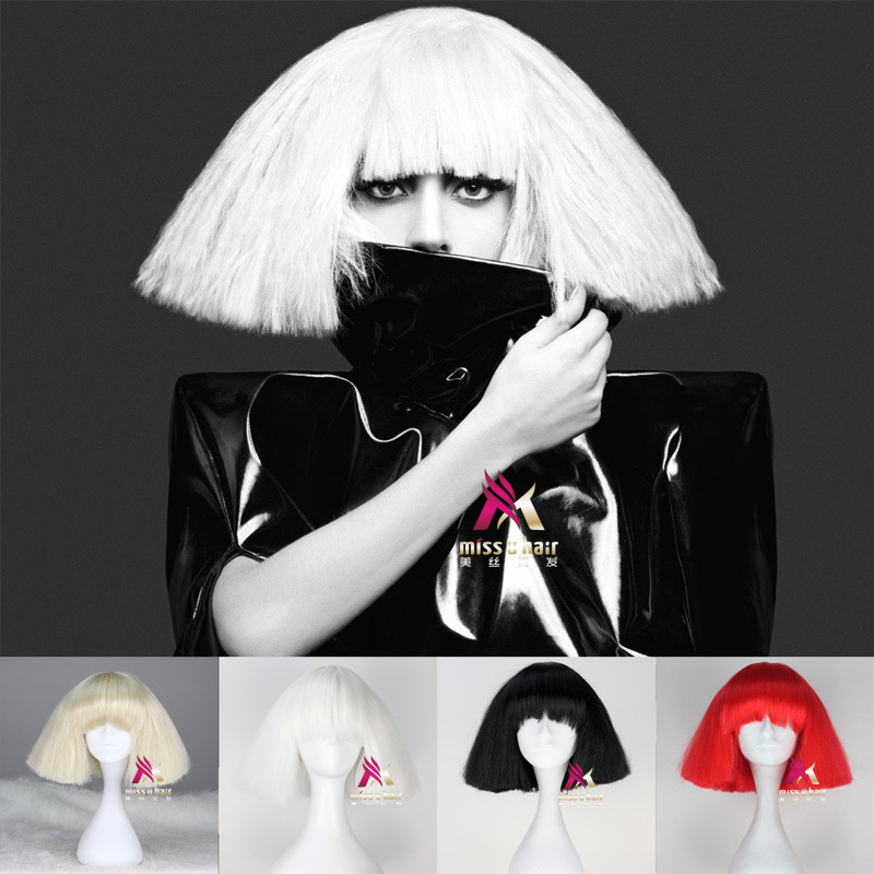 Lady Gaga Wig Black Blonde White Synthetic Hair Cosplay Wig Halloween Party Costume Wigs +wig Cap