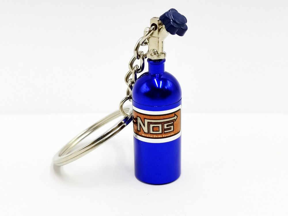FLYJ רכב טורבו NOS Keychain חנקן בקבוק מתכת מפתח שרשרת מפתח טבעת סטאש גלולת תיבת אחסון