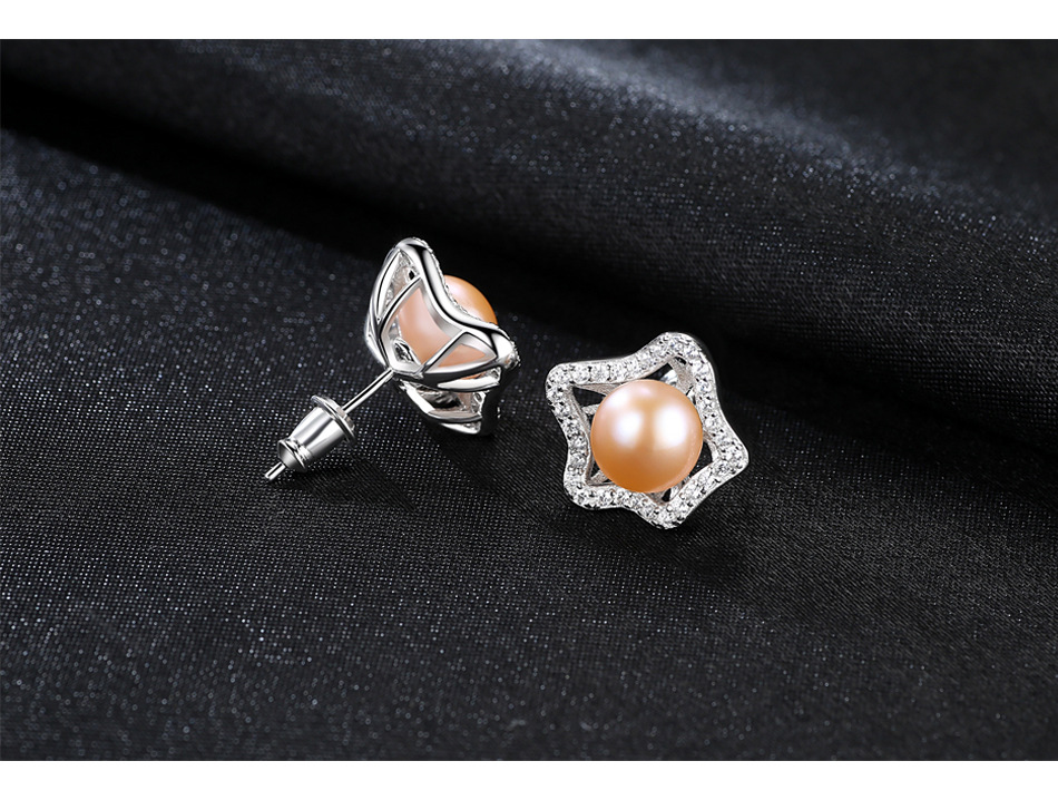 YUEYIN Star Earrings Silver 925 Jewelry AAA Zircon 100 Real Pearl Earrings Christmas Gifts For Women High Quality Party Gift in Earrings from Jewelry Accessories