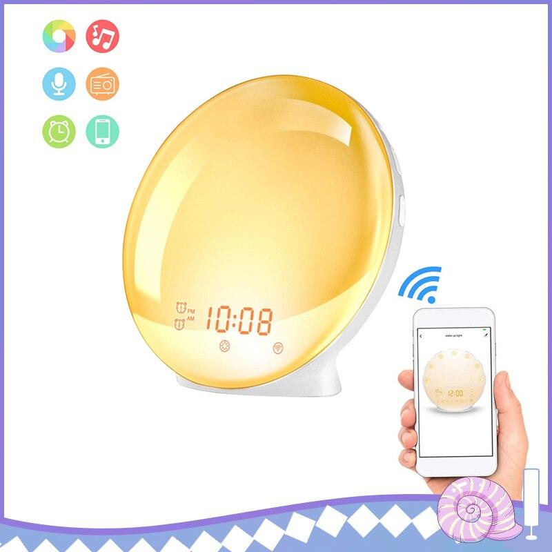 APP Control Smart Wake-up Light Alarm Clock Smart Wake Up Light Digital Alarm Clock Radio 7 Colored Sunrise Sunset Mode Lamp