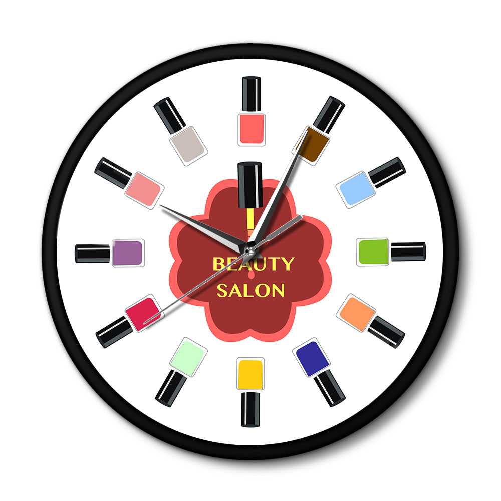 12 Colorful Nail Polish Beauty Salon Wall Clock With Metal Frame Pedicure Nail Wall Art Nail Salon Stuido Decor Technician Gift