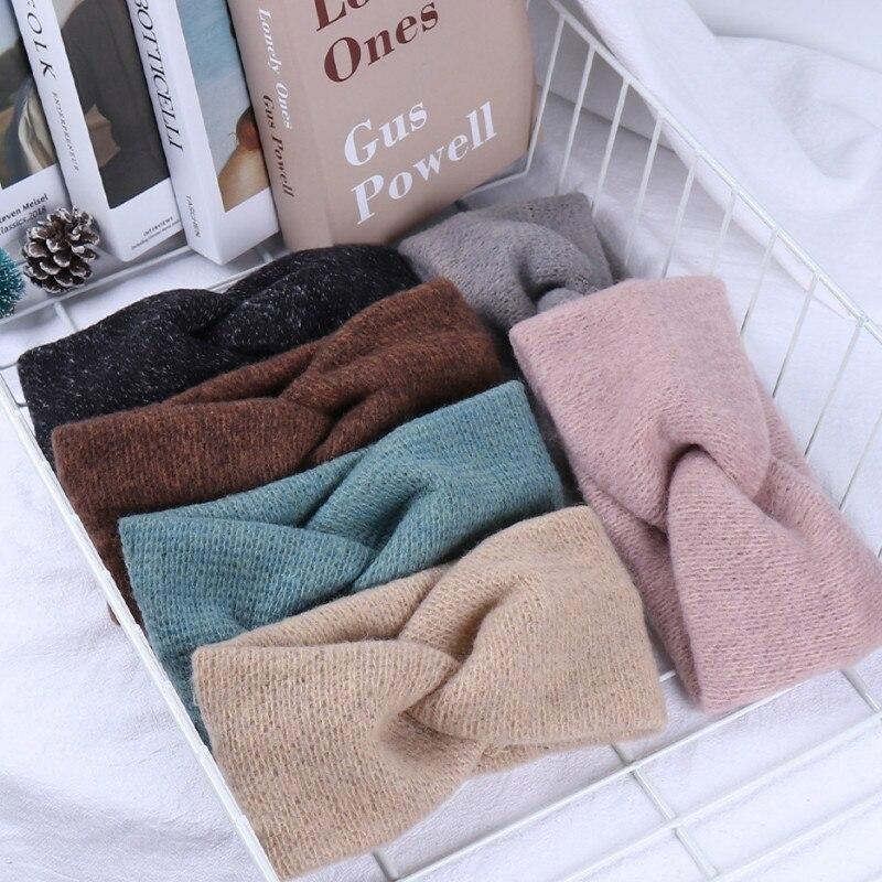 Women Solid Knitting Cross Knot Woolen Warm Headbands Hair Holder Elastic Hairbands Turban Headwraps Fashion Hair Accessories