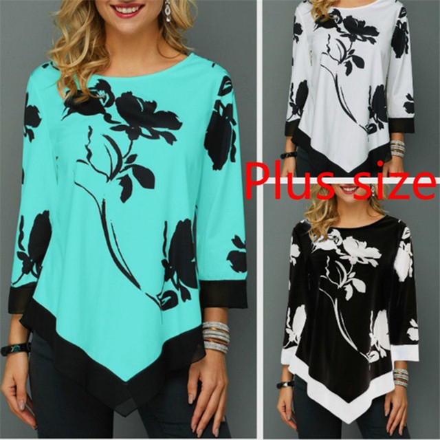 4XL Plus Size Women Blouses 2019 Autumn Tops Casual Long Sleeve Print Lace Patchwork Shirt Lady Irregular Blouse Large Size 5XL 1