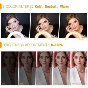 Image 3 - Ledแหวน 51 นิ้วขาตั้งกล้องขาตั้งโทรศัพท์ผู้ถือSelfie RinglightสำหรับYoutubeแต่งหน้าวิดีโอสดแสงการถ่ายภาพ