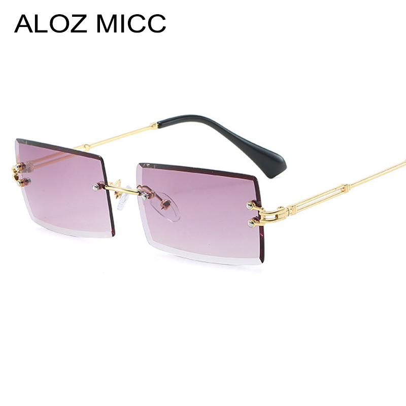 ALOZ MICC Fashion Ladies Rectangle Rimless Sunglasses Men Women Personality Trimming Luxury Metal Sunglass UV400 Q709