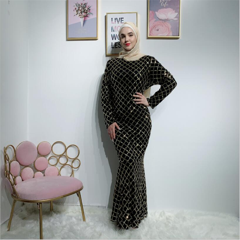 2019 Luxury muslim women abaya dress kaftan sequins arab dubai turkey long islamic dresses Fishtail ladies fashion clothing image