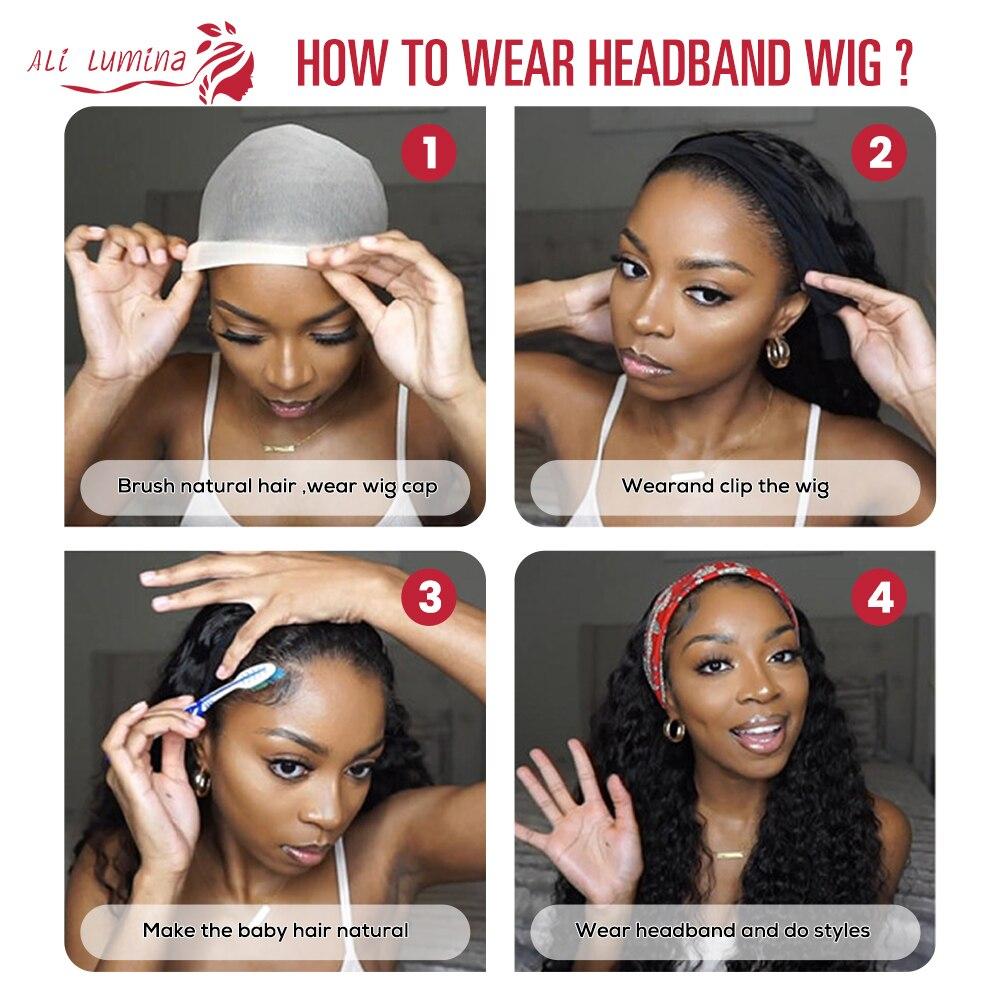 Body Wave Headband Wig   Hair 150 Density  Wigs  Fashion Style Glueless Scarf Wig 4