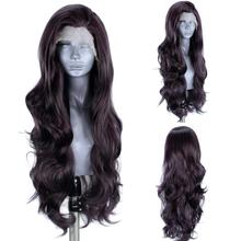 ANOGOL #4 натуральные черные синтетические кружевные передние женские длинные волнистые термостойкие парики для футуристических волос